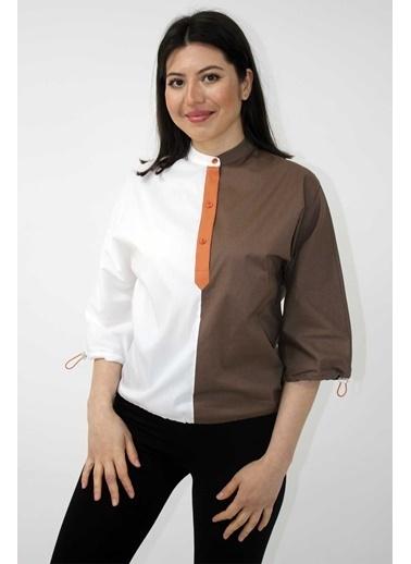 Clıche  Kiremit Renge Beyaz Garni Kumaşlı, Kolları Ve Etek Ucu Lastik Detaylı Bluz Kahve